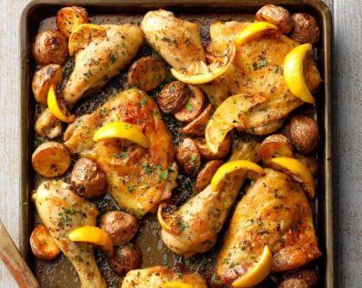 pollo con limón y ajo.