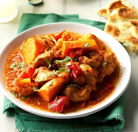 Pollo con verduras estilo indio