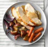 Asado en ajo pollo y verduras