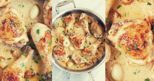 Pollo con mantequilla de ajo