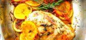 Pollo al horno con naranja